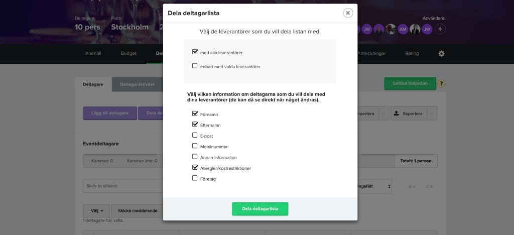 Tips! Dela en live-uppdaterad deltagarlista med leverantören